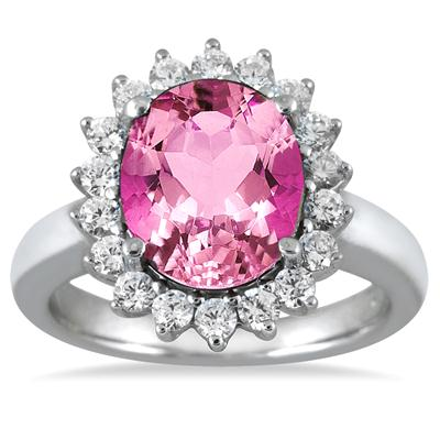 14K White Gold 4 Carat Pink Topaz and Diamond Ring in 14K White Gold