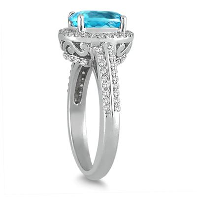 2.50 Carat Oval Blue Topaz and Diamond Halo Ring in 14K White Gold
