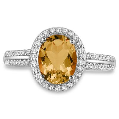 2.50 Carat Oval Citrine and Diamond  Ring in 14K White Gold