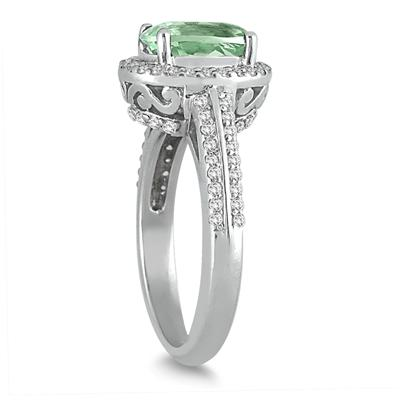 2.50 Carat Oval Green Amethyst and Diamond Ring in 14K White Gold