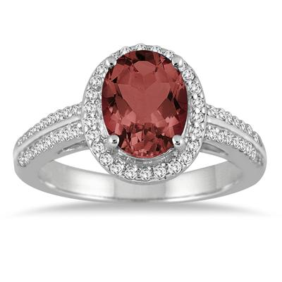 2.50 Carat Oval Garnet and Diamond Ring in 14K White Gold