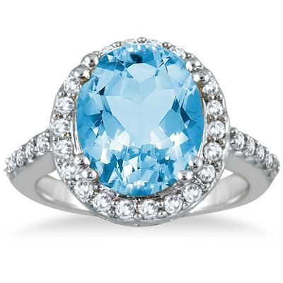 5 Carat Blue Topaz and Diamond Ring in 14K White Gold