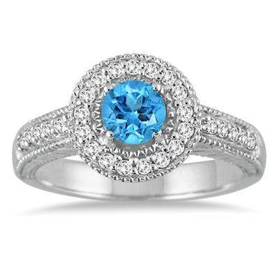 Blue Topaz and Diamond Ring in 10K White Gold
