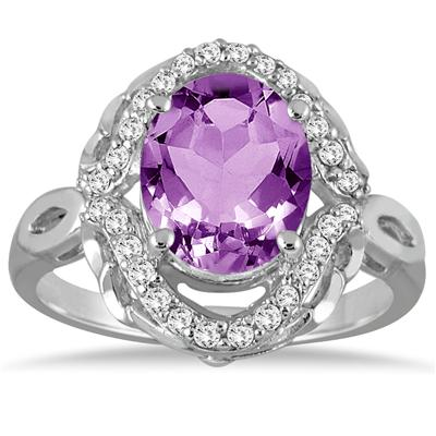 3 1/2 Carat Oval Amethyst and Diamond Ring in 10K White Gold