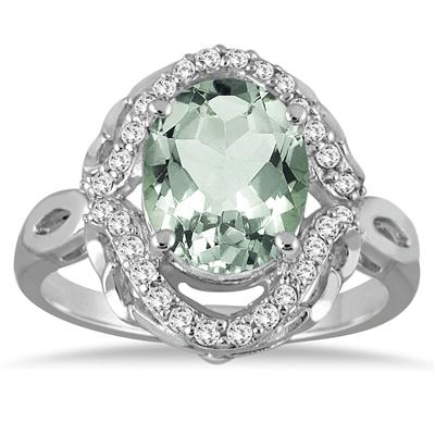 3.50 Carat Oval Green Amethyst and Diamond Ring in 10K White Gold
