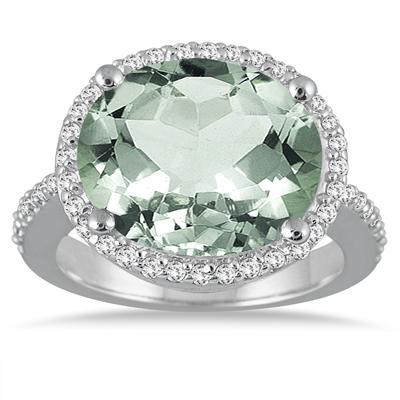 8.00 Carat Oval Green Amethyst and Diamond Ring in 14K White Gold