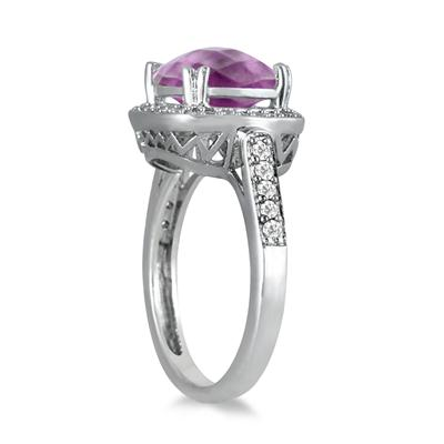 3.50 Carat Cushion Cut Amethyst and Diamond Ring in 14K White Gold