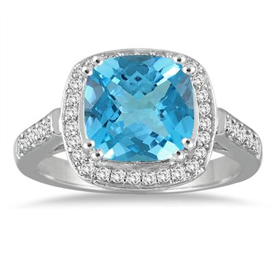 3.50 Carat Cushion Cut Blue Topaz and Diamond Ring in 14K White Gold