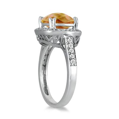 3.50 Carat Cushion Cut Citrine and Diamond Ring in 14K White Gold
