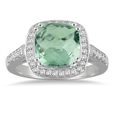 3.50 Carat Cushion Cut Green Amethyst and Diamond Ring in 14K White Gold