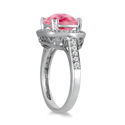 3 1/2 Carat Cushion Cut Pink Topaz and Diamond Ring in 14K White Gold