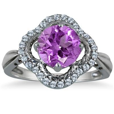 2.25 Carat Amethyst and Diamond Ring in 10K White Gold