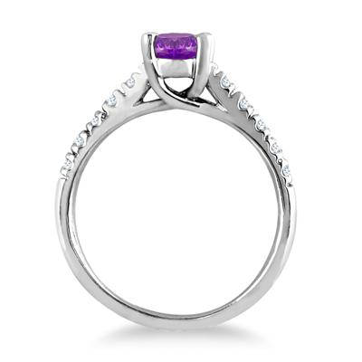 1.00 Carat Oval Amethyst and Diamond Ring in 14K White Gold