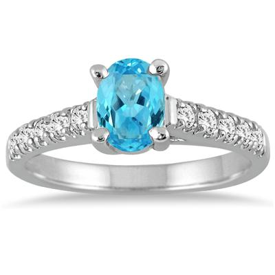 1.00 Carat Oval Blue Topaz and Diamond Ring in 14K White Gold