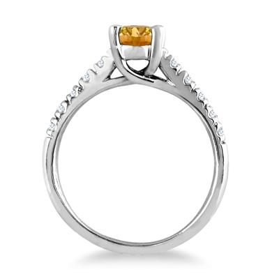 1.00 Carat Oval Citrine and Diamond Ring in 14K White Gold