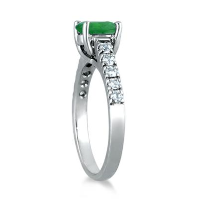 1.00 Carat Oval Emerald and Diamond Ring in 14K White Gold