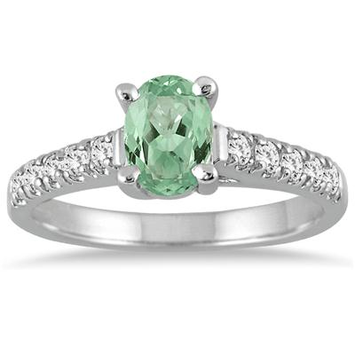 1.00 Carat Oval Green  Amethyst and Diamond Ring in 14K White Gold