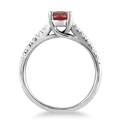 1.00 Carat Oval Garnet and Diamond Ring in 14K White Gold