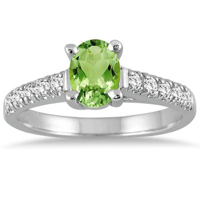 1.00 Carat Oval Peridot and Diamond Ring in 14K White Gold