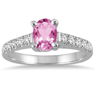 1.00 Carat Oval Pink Topaz and Diamond Ring in 14K White Gold