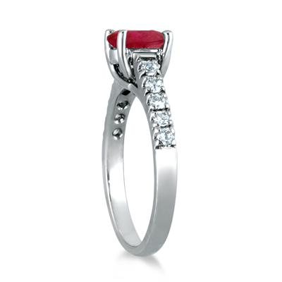 1.00 Carat Oval Ruby and Diamond Ring in 14K White Gold