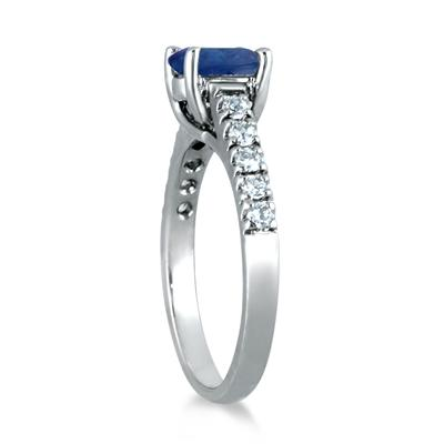 1.00 Carat Oval Sapphire and Diamond Ring in 14K White Gold