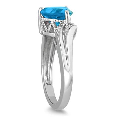 2.25 Carat Trillion Cut Blue Topaz and Diamond Ring in 10K White Gold
