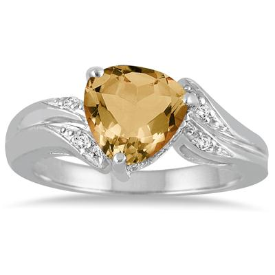 2.25 Carat Trillion Cut  Citrine and Diamond Ring in 10K White Gold