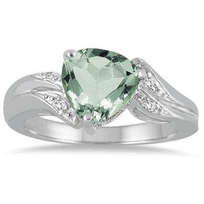2.25 Carat Trillion Cut Green Amethyst and Diamond Ring in 10K White Gold