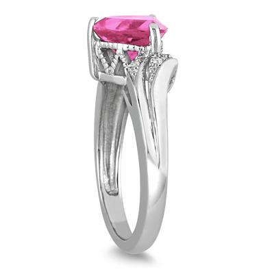 2 1/4 Carat Trillion Cut Pink Topaz and Diamond Ring in 10K White Gold