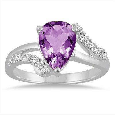 2 Carat Pear Shape Amethyst and Diamond Ring in 10K White Gold