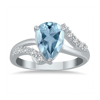 2.00 Carat Pear Shape Aquamarine and Diamond Ring in 10K White Gold