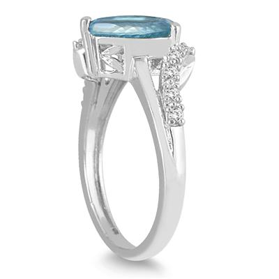 2 Carat Pear Shape Aquamarine and Diamond Ring in 10K White Gold