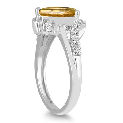 2.00 Carat Pear Shape Citrine and Diamond Ring in 10K White Gold