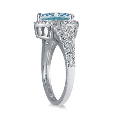 2.00 Carat Pear Shaped  Aquamarine and Diamond Ring in 10K White Gold