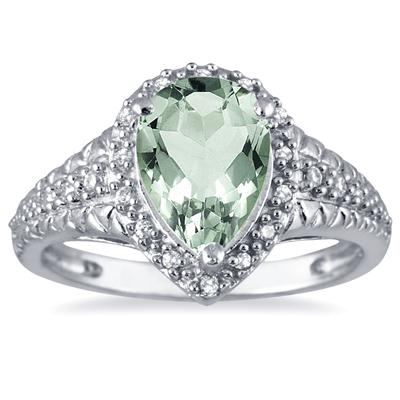 2 Carat Pear Shaped  Green Amethyst and Diamond Ring in 10K White Gold