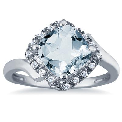 2.50 Carat Cushion Cut Aquamarine and Diamond Ring in 10K White Gold