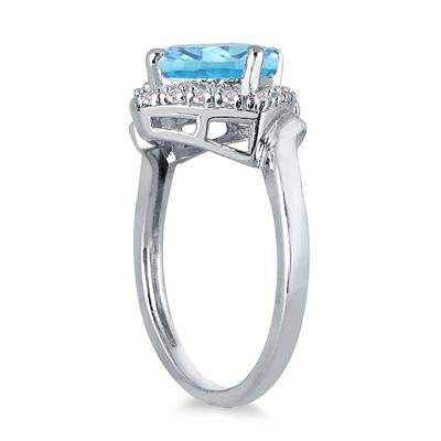 2.50 Carat Cushion Cut Blue Topaz and Diamond Ring in 10K White Gold