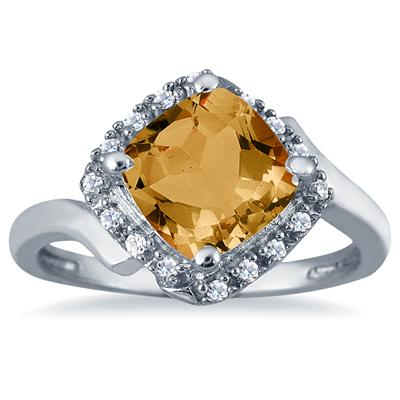 2 1/2 Carat Cushion Cut Citrine and Diamond Ring in 10K White Gold