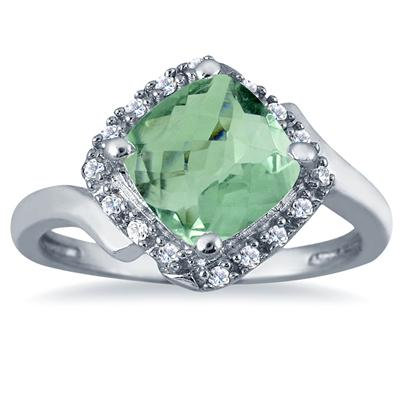 2 1/2 Carat Cushion Cut Green Amethyst and Diamond Ring in 10K White Gold