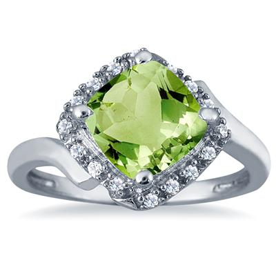 2.50 Carat Cushion Cut Peridot and Diamond Ring in 10K White Gold
