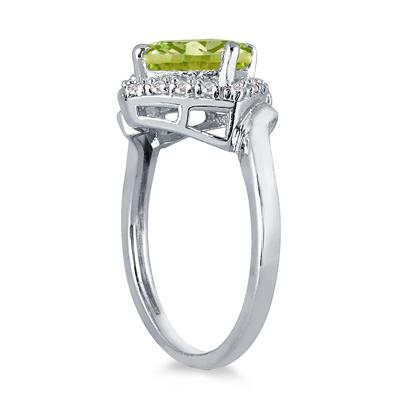 2 1/2 Carat Cushion Cut Peridot and Diamond Ring in 10K White Gold