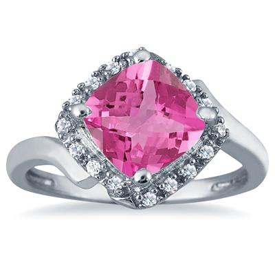 2.50 Carat Cushion Cut Pink Topaz and Diamond Ring in 10K White Gold