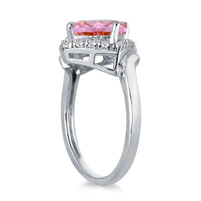 2 1/2 Carat Cushion Cut Pink Topaz and Diamond Ring in 10K White Gold