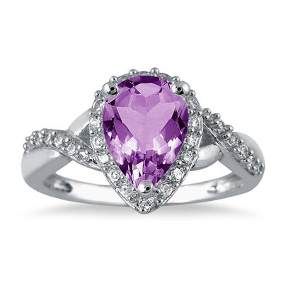 1.50 Carat Pear Shape Amethyst and Diamond Ring in 10K White Gold