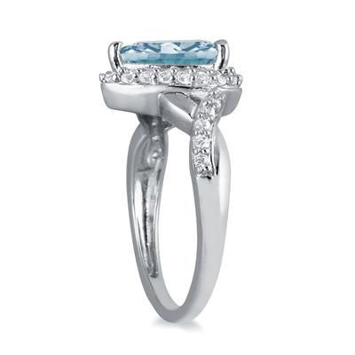 1 1/2 Carat Pear Shape Aquamarine and Diamond Ring in 10K White Gold