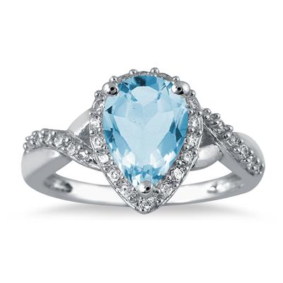 1.50 Carat Pear Shape Blue Topaz and Diamond Ring in 10K White Gold