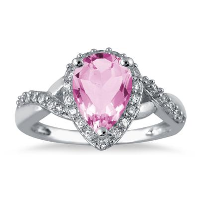 1.50 Carat Pear Shape Pink Topaz and Diamond Ring in 10K White Gold