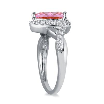 1 1/2 Carat Pear Shape Pink Topaz and Diamond Ring in 10K White Gold