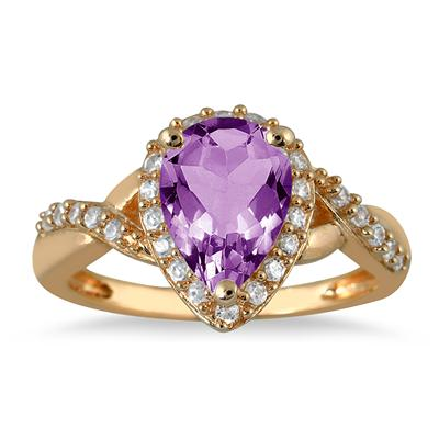1.50 Carat Pear Shape Amethyst and Diamond Ring in 10K Yellow Gold